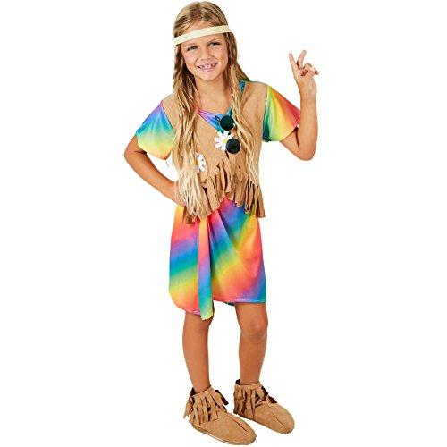 TecTake dressforfun Mädchenkostüm Blumenkind | Kleid in Regenbogenfarben | Inkl. Weste in Veloursleder-Optik (7-8 Jahre)