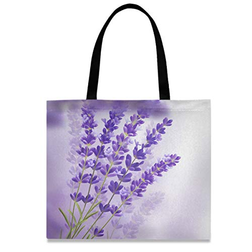 Reusable Shopping Canvas Tote Bag - Lavender Flowers Purple Violet Grocery Heavy Duty Washable Work Tote Bags 20 x 16 Inch with Handles