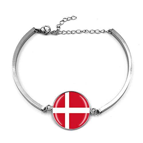 Bracelet réglable style drapeau du Danemark - Cadeau souvenir de voyage