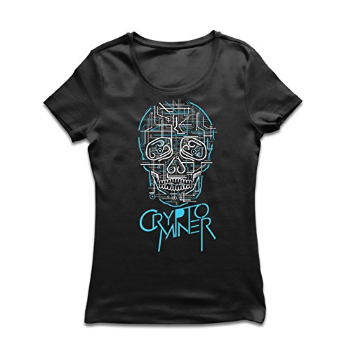 Frauen T-Shirt Crypto Miner - Cryptocurrency - Bitcoin Ethereum, Blockchain Mining algorithms (Medium Schwarz Mehrfarben)