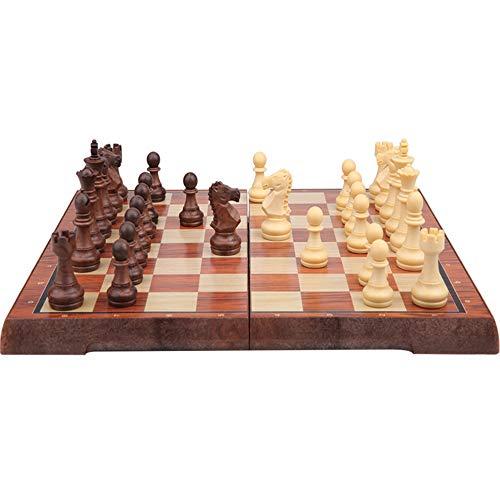 Kosun チェスセット マグネット式チェス 木目 折りたたみチェスボード 収納バッグ付き (XL)