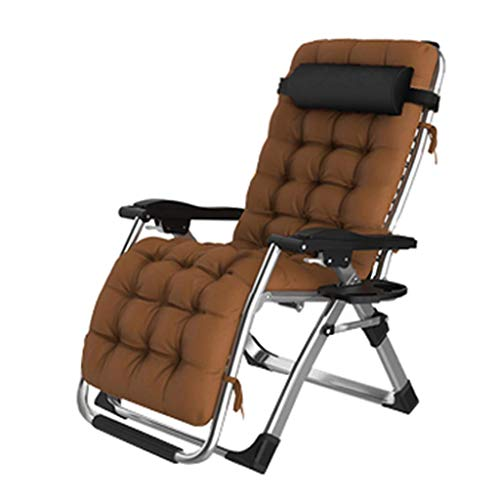Extra breiter Gartenstuhl im Freien Garten Camping Relax Comfort |Klappbare Sonnenliege Verstellbare Liegestühle Liege für Hof Wohnzimmer Balkon Patio Strand, Braun
