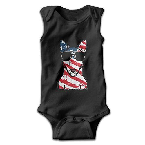Bodysuits Bull Terrier patrón de la bandera americana sudaderas bebé lindo camiseta de manga corta