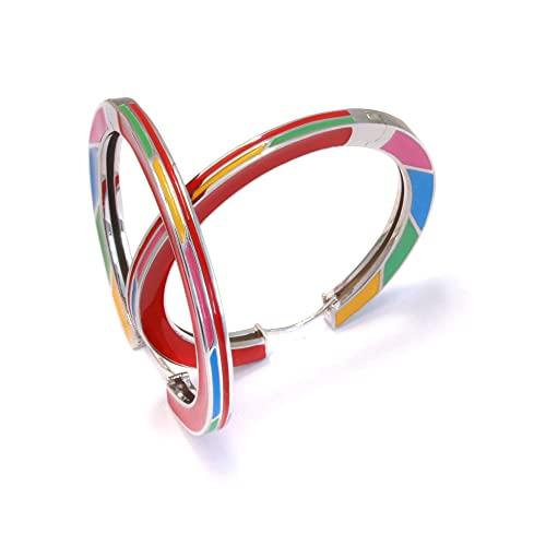 Pendientes de aro de 40 mm, plata 925 esmaltada, pendientes grandes y multicolor, pendientes de aro con cierre de clip, de plata 925, esmaltados, sin níquel