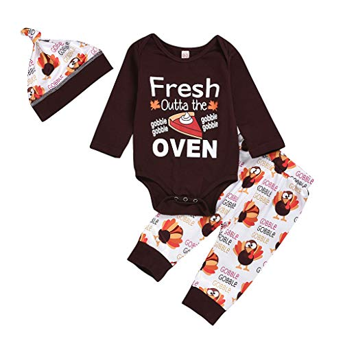 My First Thankinggiving Day Baby Costumes Baby Xmas Clothes Turkey Print Catroon Christmas Orange 3Pcs Long Sleeve Festival Outfits Set Pomper Tops Pants with Beanie Hat Xmas Toddler Costume