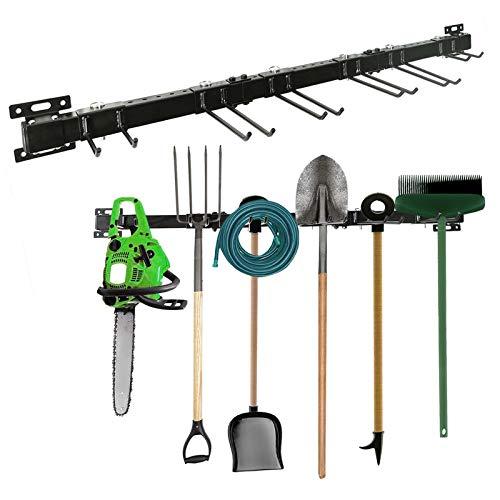 AIMEZO Rack de Almacenamiento de Herramientas, Organizador de Herramientas de Montaje en Pared para Almacenamiento de Jardín en el Hogar y Garaje con 6 Ganchos (Negro)