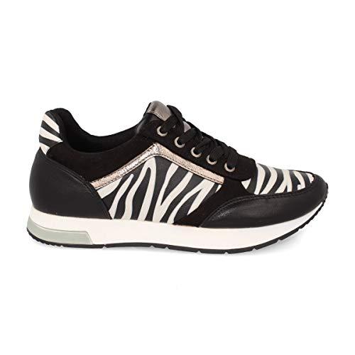 Deportivo de Mujer Sneaker Casual con Cordones y Estampado Animal Print. Otono-Invierno 2019. Talla 36 Cebra