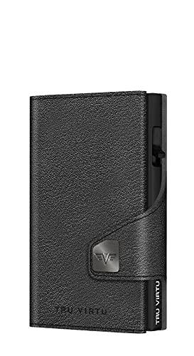 TRU VIRTU® Monedero para tarjetas Click & Slide Coin Pocket, tarjetero de protección RFID NFC, cartera de piel italiana auténtica, Nappa Black/Black, normal,