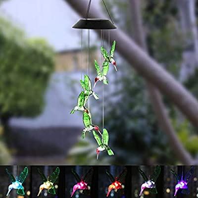 Solar Wind Chimes Outdoor, Hummingbird Color Changing Solar Powered Waterproof LED Windchime Hanging Lamp for Outdoor Garden Festival Decoration, Garden Yard Outdoor Light Decor