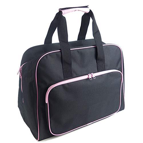 BKAUK Multifunktionale Nähmaschinentasche Reise tragbare Aufbewahrungstasche Tragetasche mit Tasche Handwerk Aufbewahrung Nähwerkzeug Handtaschen Neu Schwarz Pink