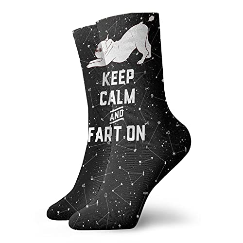 French Bulldog Keep Calm and Fart On Mens Womens Socks Novelty Ankle Socks For Athletic Hiking