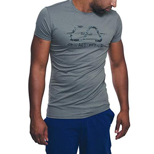 GYM AESTHETICS Herren Workout \'Intensity\' T-Shirt Sportshirt Kurzarm Rundhals Slim Fit, Für Training und andere Sport in Grau