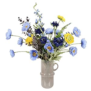 ADSE Artificial Real Touch Poppy Bouquet – Artificial Poppies Blue Flower with Vase – Poppy Silk Blue Flower for Wedding/Party Decor
