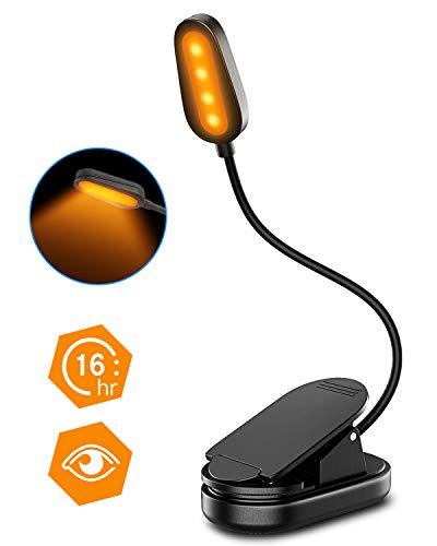 Cocoda Leselampe Klemme [mit Augenschutz-Bernsteinfarbenem Licht], USB Wiederaufladbare 1600K Buchlampe, 4 LED, 16H Laufzeit, 360° Flexible Klemmlampe für Kinder, E-Reader, Buch, Büro, Bett