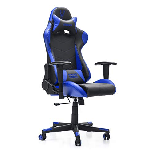 Woxter Stinger Station Blue - Silla Gaming (Eje Acero, Levantamiento por Gas Piston Clase 4, Ergonomica, Reposabrazos 2D, Alt/Incl Ajustable, Refuerzo de Foam MD, Racing, Cojin Lumbar/Cervical)