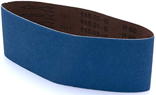 Multiblade Professioneler schleifbänder Zirkonia 100x610mm, 3 Stück, Korn 80, für Holz und Metall, Profesioneller Qualität, für Schleifbandmaschinen