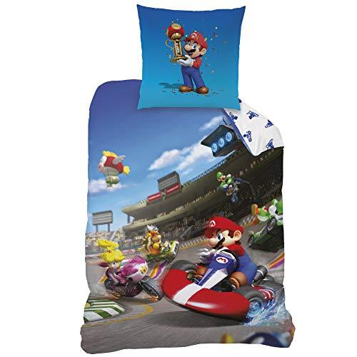 MARIO Kart Bettwäsche · Kinderbettwäsche · Jugendbettwäsche · RACE · Nintendo Super Mario Kart 8 · Wende Motiv - Kissenbezug 80x80 + Bettbezug 135x200 cm - 100% Baumwolle