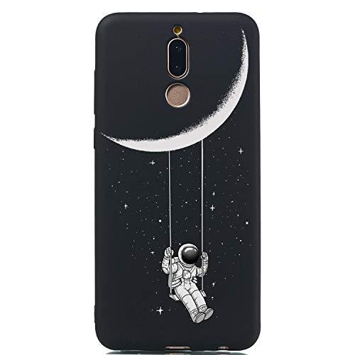 LeviDo Cover Compatibile per Huawei Mate 10 Lite Silicone Morbida Nero Case Gomma Bumper Caso Paraurti TPU Gel Protettiva Antiurto, Astronauta