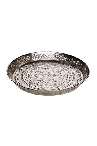 Orientalisches rundes Tablett aus Metall Ferda 40cm groß Silber | Marokkanisches Vintage Teetablett mit Rand | Orient Serviertablett Rund Rutschfest | Orientalische Dekoration auf dem gedeckten Tisch