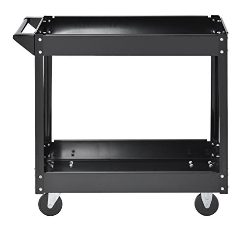 Muscle Rack SC3016 Industrial Black Commercial Service Cart, Steel, 220Lbs Capacity, 33' width x 30.5' Height x 16' Depth, 2 Shelves, 30.5' Height, 33' width, 16' Length, 2-Level
