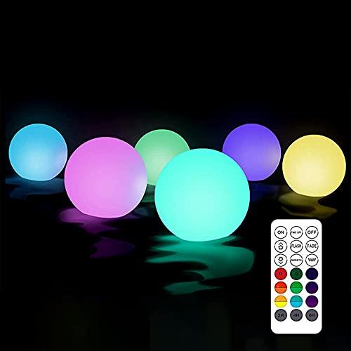 Schwimmendes Poollicht LED 6 Stück Poolbeleuchtung Licht IP68 Wasserdicht Schwimmende Poolbeleuchtung für Teich, Schwimmbad, Spa, Innen, Außenleuchte,Garten