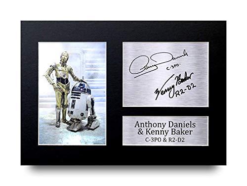 HWC Trading Anthony Daniels & Kenny Baker C-3Po R2-D2 A4 Ungerahmt Signiert Gedruckt Autogramme Bild Druck-Fotoanzeige Geschenk Für Star Wars Filmfans