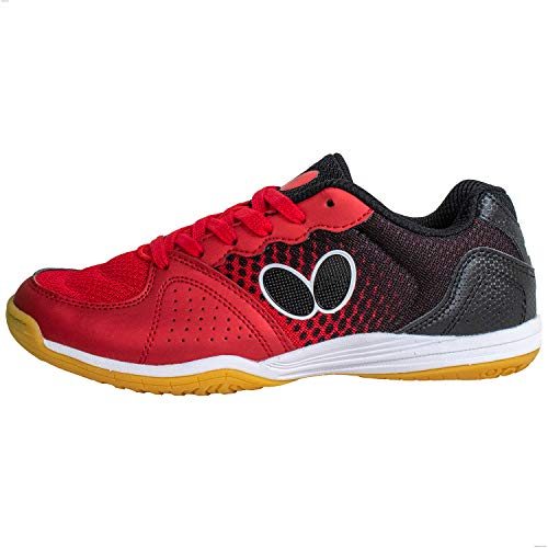 Butterfly Lezoline Vilight Shoes for Men or Women, Comfortable, Lightweight, Excellent Grip Table Tennis Tournament Professional Quality Ping Pong Shoe, red, 6