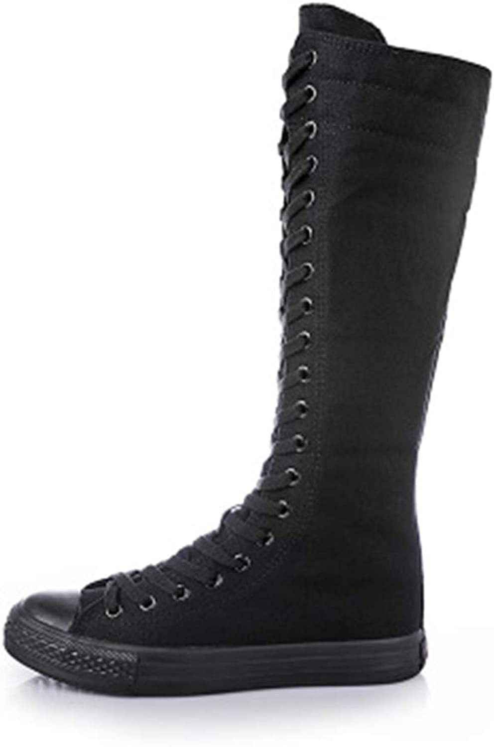 Dolwins Girl Tall Punk Canvas Sneakers Lace up High Boots