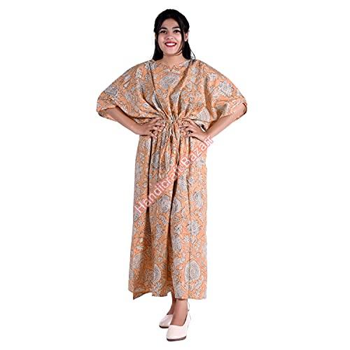 Bazar de artesanía túnica impresa a mano para mujer de algodón suelto Kaftan Bikini cubrir floral estampado noche vestido media manga caftán playa desgaste una pieza más tamaño