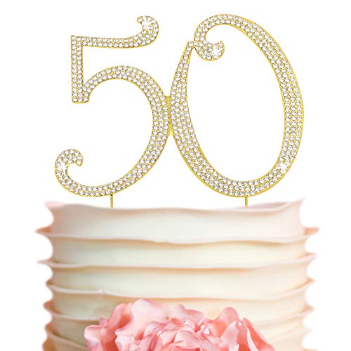 50 Cake Topper - Premium Gold Metal - 50th Birthday or Golden Anniversary Party Sparkly Rhinestone Decoration Makes a Great Centerpiece - Now Protected in a Box