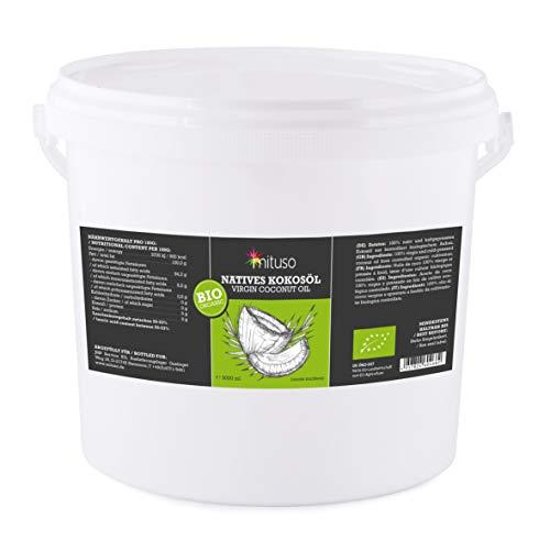 aceite de coco orgánico mituso, nativo, 1 paquete (1 x 5L) en un cubo