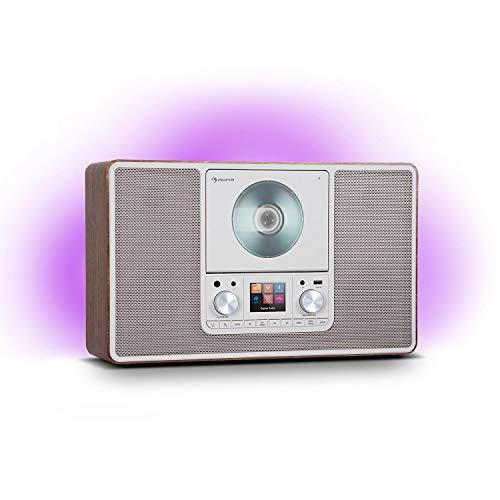 auna Scala VCD - Internetradio, WLAN Radio mit CD-Player, DAB/DAB+/UKW Radio, 2 x 10 Watt RMS Lautsprecher, LED-Ambient-Backlight in 7 Farben, Vertikal, Webradio, walnuss