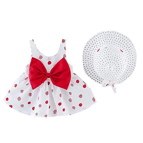 6 Mois-3 Ans Ensemble de vêtements de Mode pour bébés Filles, BZLine Filles Bownot Robe d'été Mignon + Ensemble de Chapeau de Paille