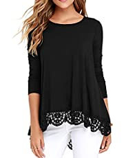 QIXING Women's Tops Short Sleeve//Long Sleeve Lace Trim O-Neck A Line Tunic Blouse