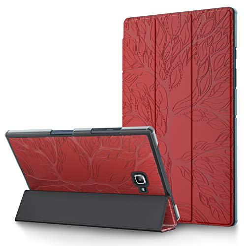 L&Btech - Funda para Samsung Galaxy Tab A 10.1 pulgadas 2016 SM-T580/T585 (A6), piel sintética con tres lentes, función de reposo/despertador automático y soporte, color rojo