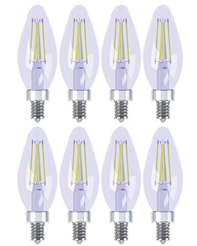 GE Lighting Decorative Reveal LED 4-Watt (40-Watt Replacement), 240-Lumen Blunt Tip Light Bulb with Candelabra Base, 8-Pack