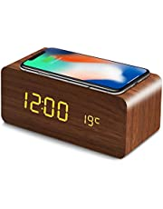 QIワイヤレス充電器 置き時計 目覚まし時計 アラームクロック USB給電 音声感知 Fomobest カレンダー付き 温度計 時間記憶 省エネ 明るさ調節 日本語説明書付き