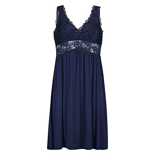 HUNKEMÖLLER Damen Slipdress Modal Lace mit Spitze Blau M