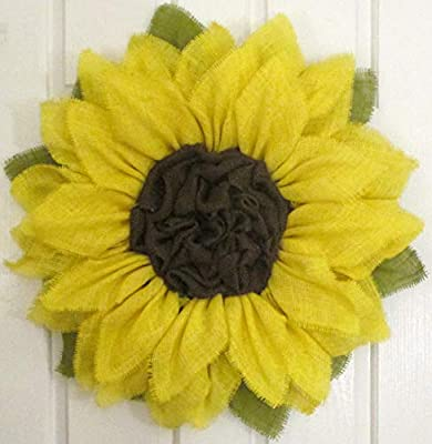 Bright Yellow Burlap Sunflower Wreath by The Crafty Wineaux?