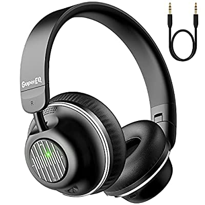 Active Noise Cancelling Headphones-SuperEQ S2 Bluetooth On Ear Headphones with Mic CVC 8.0, Hi-Fi Deep Bass, 25H Playtime for Travel Work(Black) by Supereq