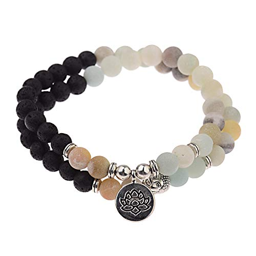 ADGJL Stone Bracelet Women,7 Chakra Natural Amazonite Stone Bead Double Layer Wrap Bangle Prayer Elastic Bracelet Buddha Lotus Jewelry For Women Couple