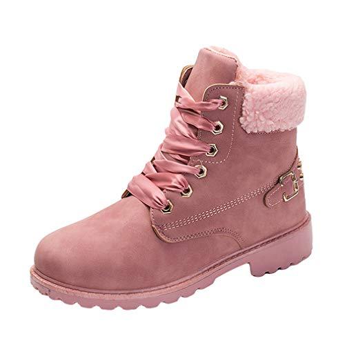 Botas de Mujer- Botas de Nieve Forradas Cómodas y calentitas Botines Cuero Botas Vintage Botines/Zapatos Planos con Cordones Botas Martin
