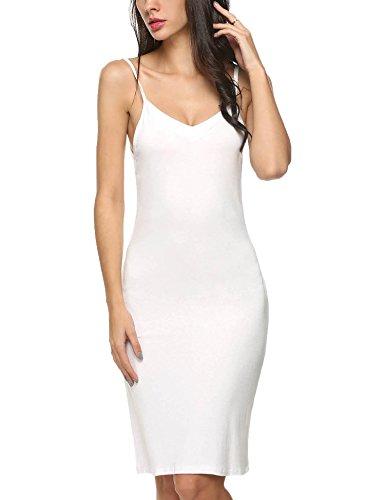 L'Amore Damen Unterkleid Nachthemd V Ausschnitt Nachtwäsche Negligee Miederkleid Elastisch Nachtkleid Träger Sleepwear Beige Schwarz Weiß