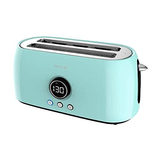Cecotec Tostadora Digital ClassicToast 15000 Blue Extra Double. 1500 W, 2 Ranuras largas extraanchas para 4 tostadas, Pantalla Digital, 3 Funciones, Varillas Superiores, Diseño Retro en Turquesa