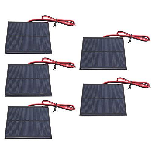 Vipxyc 5-teiliges Mini-Solarpanel, 6V 2W-Solarpanel, 136 x 110 mm Mini-Solarzellen, für Solarrasenleuchten, Solarlandschaftsleuchten