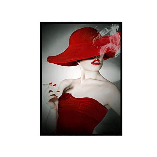 """Stampa su tela in bianco e nero Donne che fumano sexy con cappello a labbra rosse Pittura su tela Immagini di arte della parete Soggiorno Decorazioni per la casa 40x50 cm / 15,7 \""""x19,6\"""" Senza cornice"""