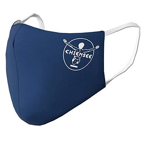 Chiemsee 53207607 - Maschera protettiva per naso in tessuto, 2 strati, in poliestere/cotone, colore: blu scuro/bianco, confezione da 2