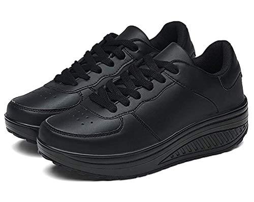 Zapatillas Casual para Mujer Zapatillas de Deporte Gimnasio Zapatos Cuña Cómodos Sneakers para Trotar Compras Negro 38