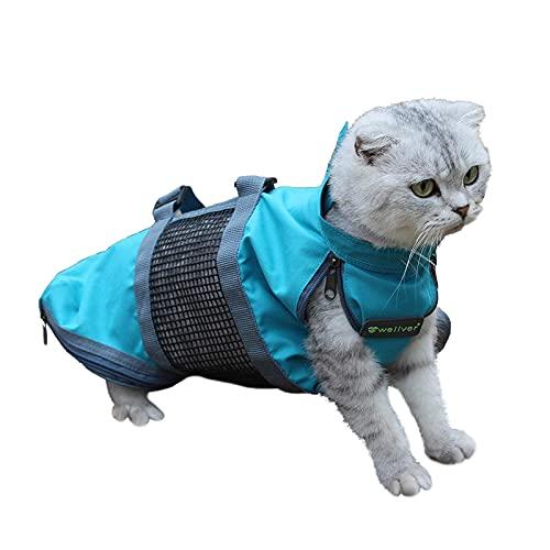 Wellver Katzen-Pflegetasche, Katzen-Reisetasche mit Griff, atmungsaktiv, weich mit Netzstoff, Fesseltasche zum Baden, Nageltrimmen, kratzfeste Katzentrage