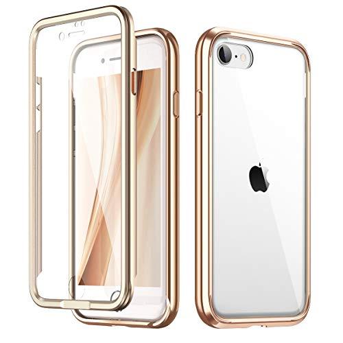 SURITCH für iPhone SE 2020 Hülle, iPhone 7/8 Hülle Transparente Eingebaute Bildschirmschutz Glas Rückseite Gold Metallische galvanisierte Kanten Stoßfeste 360°Schutz Stoßstangenhülle für iPhone SE 2020